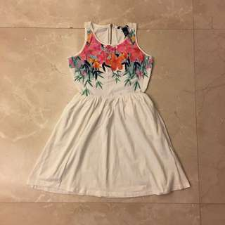 Flowers Garden White Tank One Piece Dress OP 花 背心 白色 連身裙