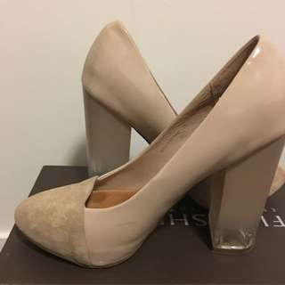 Nude Suede/ Pleather Chunky Heels