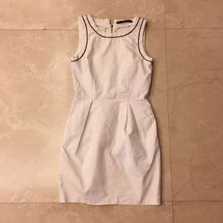 Zara White Chain Tank One Piece Dress OP 白色 鐵鍊 背心 連身裙