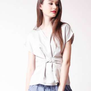 Indigo Label Grey Kireii Ribbon Top