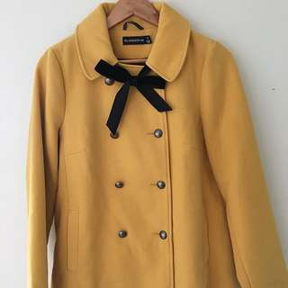 Mustard Yellow Coat With Velvet Bow
