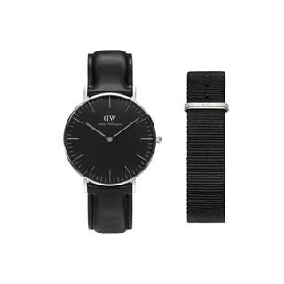 Authentic/Legit/Original Daniel Wellington Classic Sheffield 36mm Silver Watch with Cornwall Nata Strap