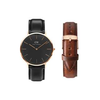 Authentic/Legit/Original Daniel Wellington Classic Black Sheffield 40mm Rosegold Watch with St. Mawes Strap