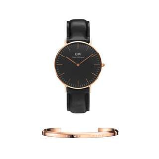 Authentic/Legit/Original Daniel Wellington Classic Shaffield 36mm Rosegold Watch and DW Cuff Rosegold Small