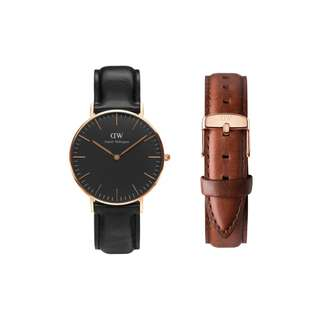 Authentic/Legit/Original Daniel Wellington Classic Black Sheffield 36mm Rosegold Watch with St. Mawes Strap