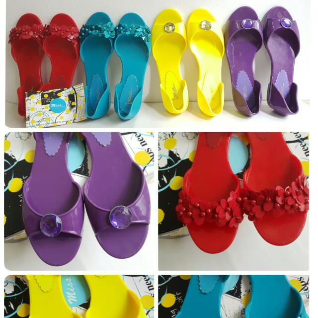 【全新、2手】專櫃Miss橡膠PU防水魚口平底鞋,共4色(36號)