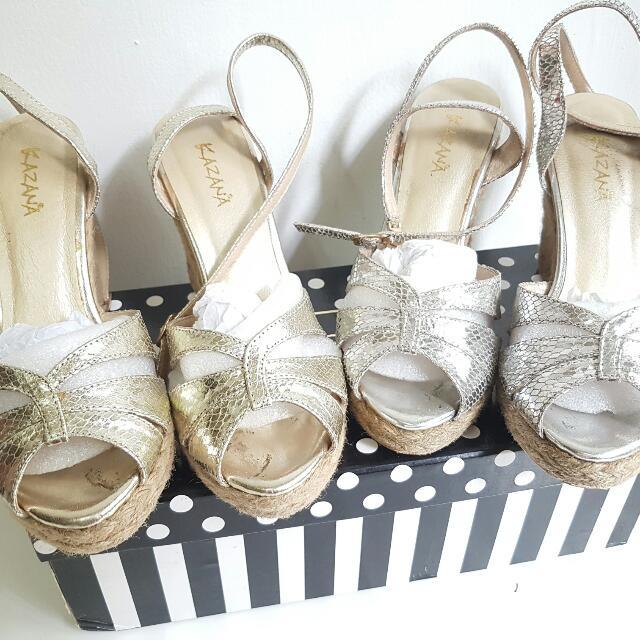 降!【2手】Kazana 楔形麻邊綁帶涼鞋 (金、銀兩色)(37號)版型偏小