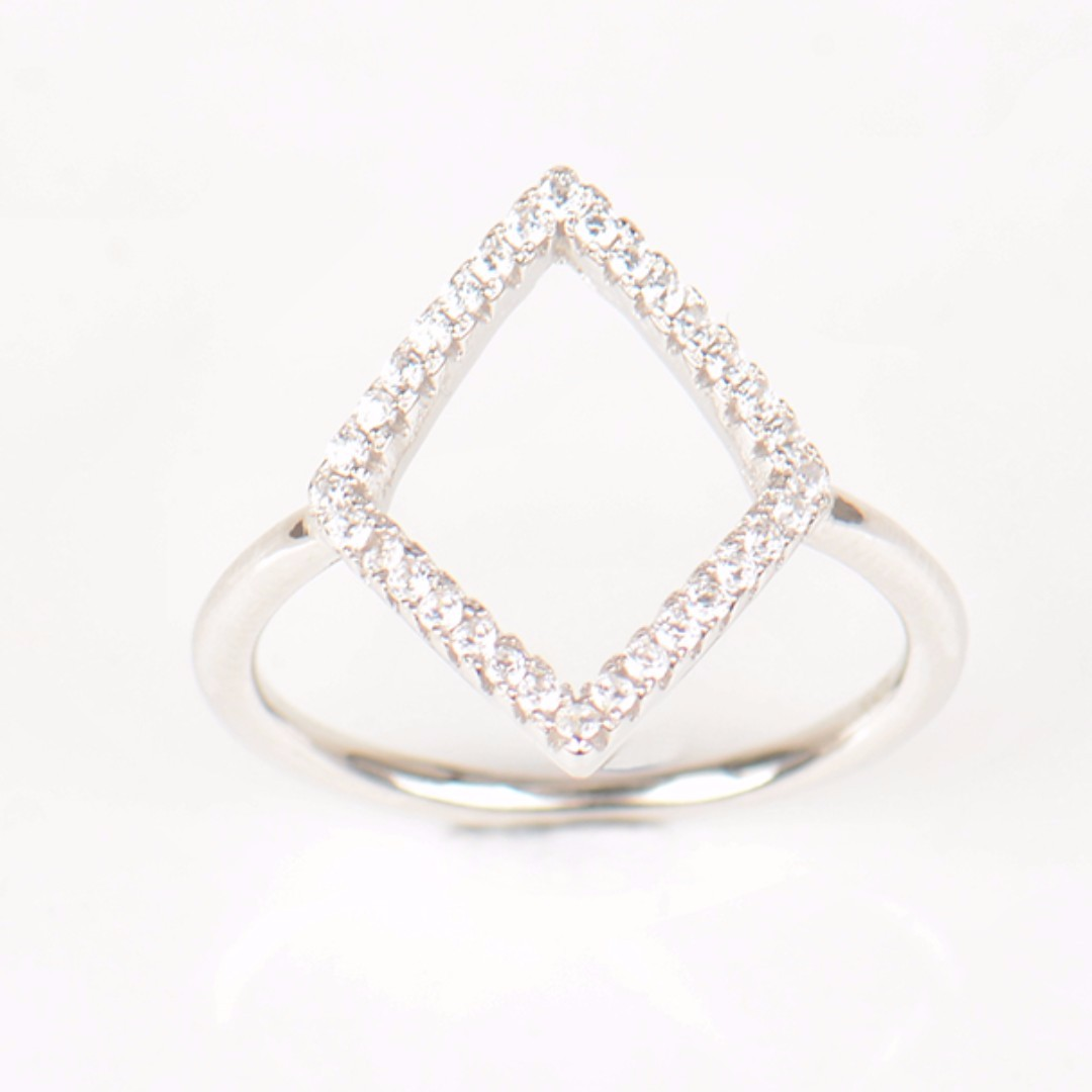 925 Sterling Silver Geometric Ring New Design Genuine Fashion CZ Zircon Finger For Women Engagement Simple Jewelry Gift