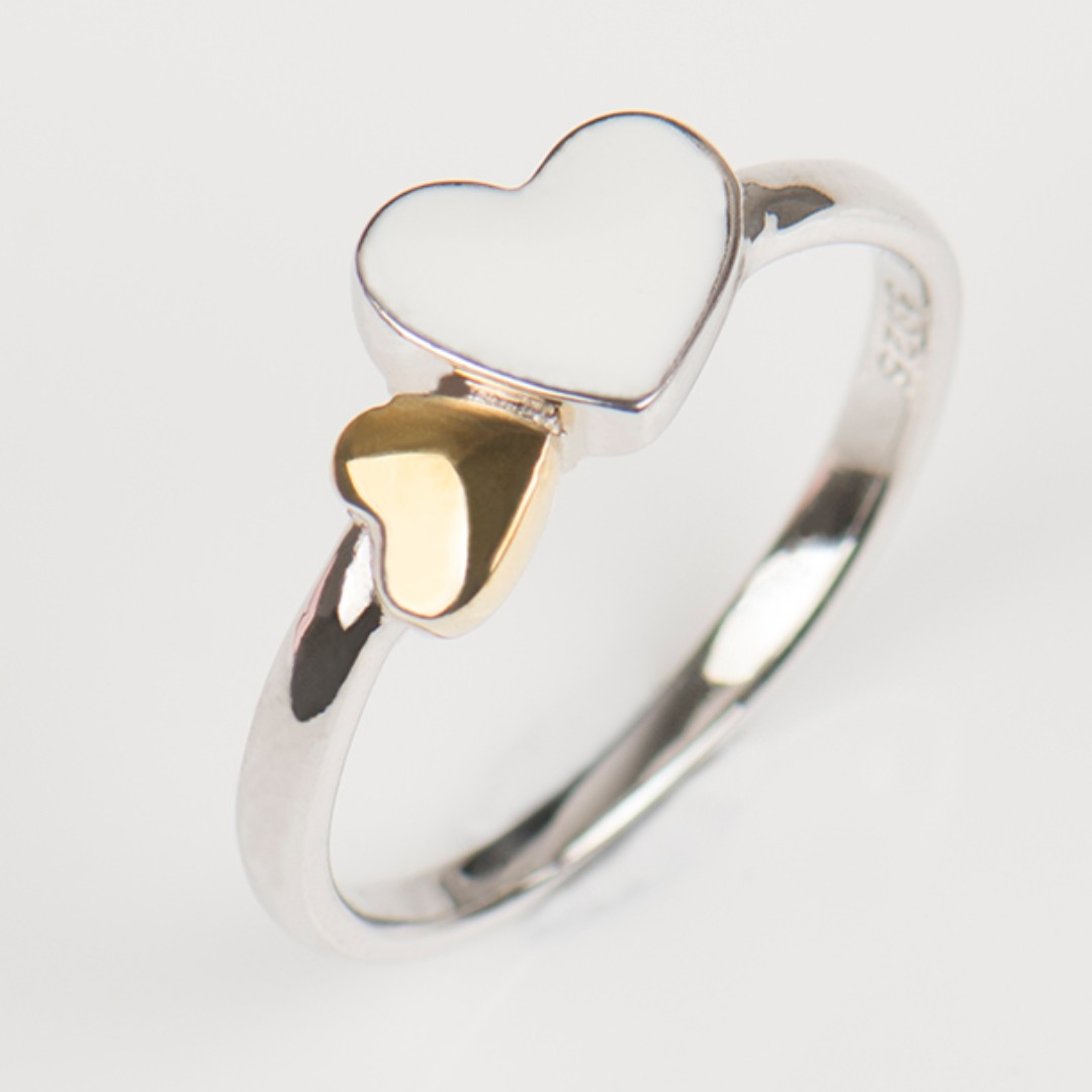 925 Sterling Silver Hearts Rings Classic Romantic Real Silver Ring Fashion Double Heart Pure Quality Jewelry For Women