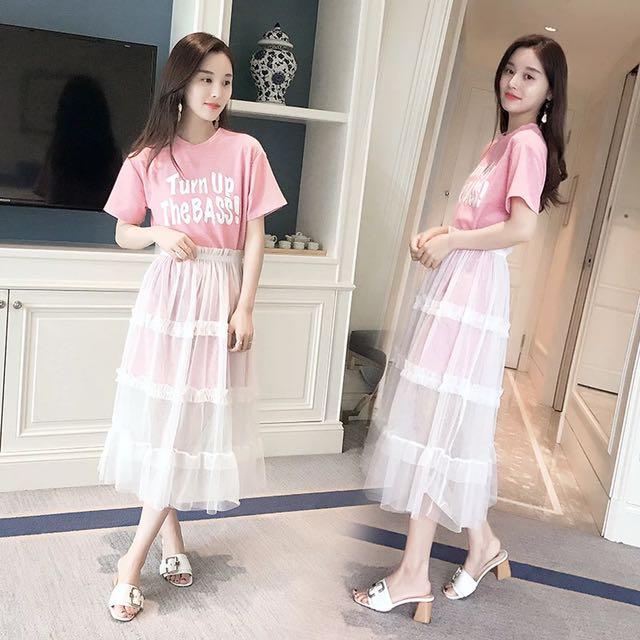 韓版代購兩件式上衣紗裙套裝洋裝連身裙