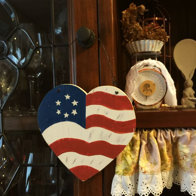 鄉村風格~木製美國國旗愛心掛飾