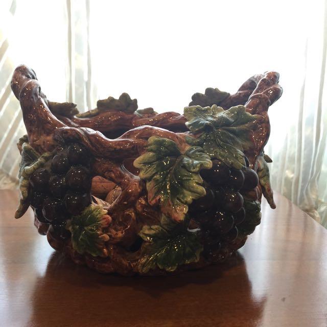 鄉村風陶器,葡萄串置物籃