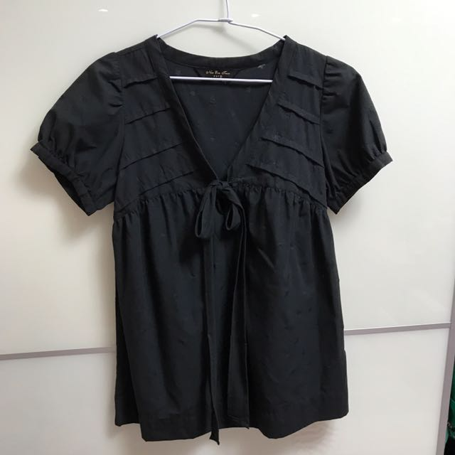 黑色綁帶短袖上衣