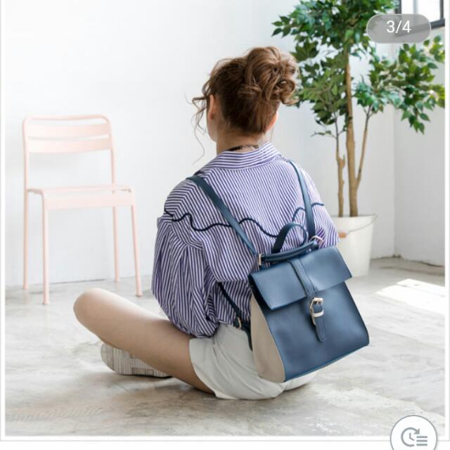 天藍小鋪_方形藍色後背包