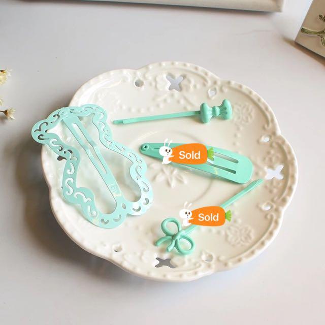 💃🏻韓版 清新 薄荷綠  髮夾 扁夾 Hairclip (6款造型選擇)