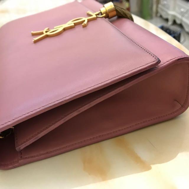 [已減價]少有金色 SAINT LAURENT Classic Medium Kate Monogram Saint Laurent Tassel Satchelin Pink Leather