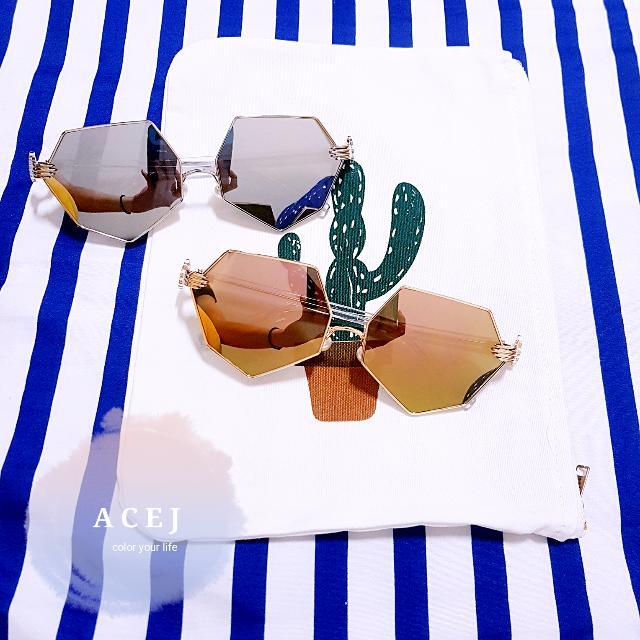 ACEJ韓國ulzzang不規則愛心菱形百搭个個性復古水銀鏡面太陽眼鏡墨镜(銀/粉)-現貨