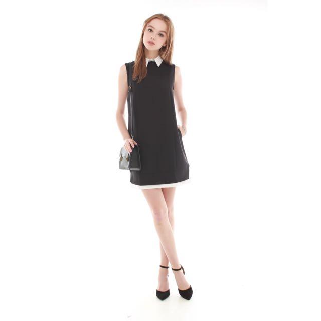 ACW Faux Preppy Layered Shift Dress in Black