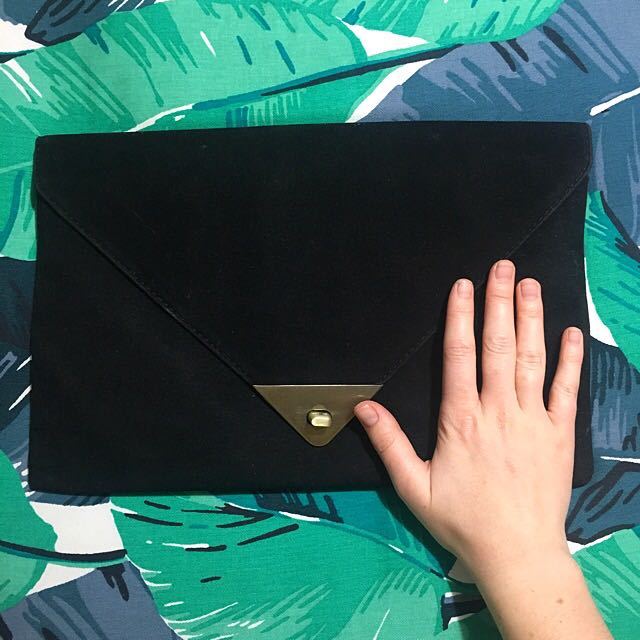 Agent Ninety Nine Faux Suede Clutch
