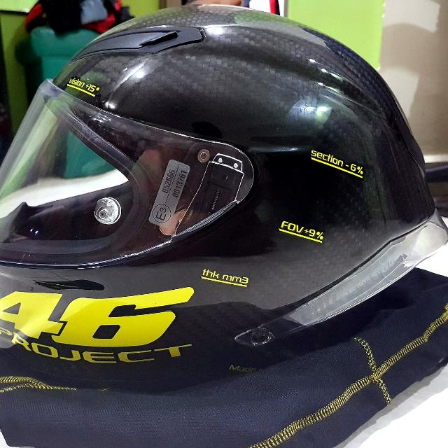 Agv Pista Gp Project 46 Helmet With Rossi Signature Authentic Full Carbon Fibre Motorcycles Motorcycle Apparel On Carousell