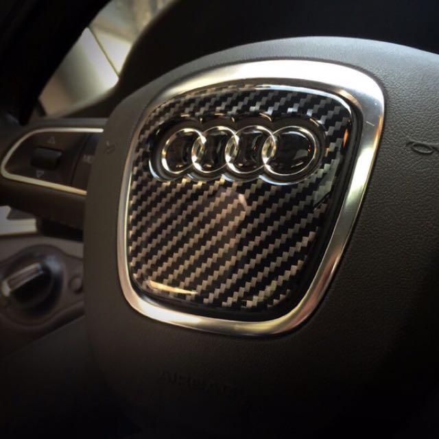 AUDI奧迪方向盤裝飾貼 碳纖維紋
