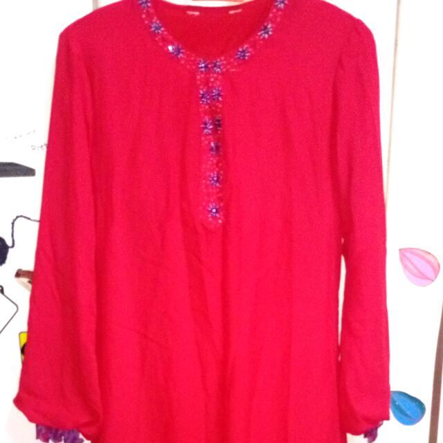 Baju Kurung Merah Purple