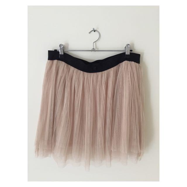 Beige Tulle Tutu Skirt   Size 12