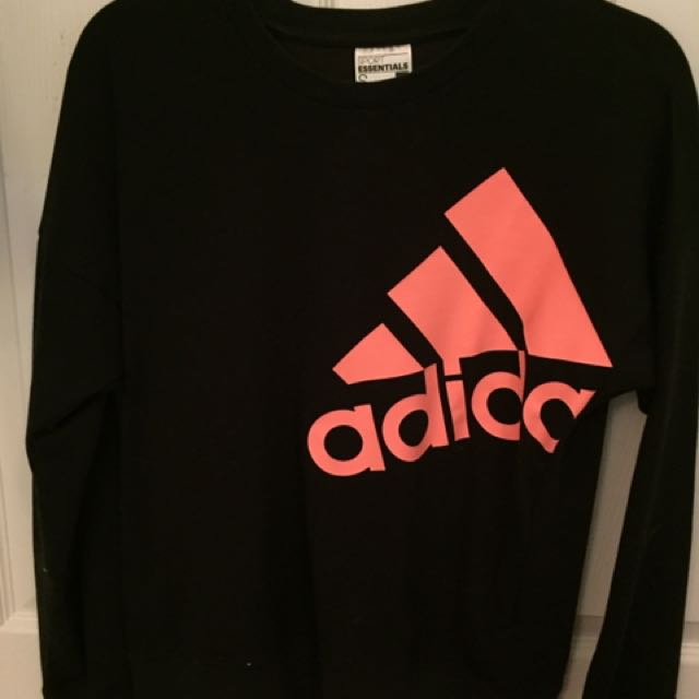 Black Adidas Sweater With Orange Logo