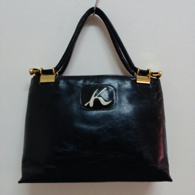 Authentic Japan Kitamura Black Genuine Leather Handbag W matching ... 100c290267fb
