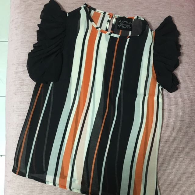 Black Orange Stripe Top