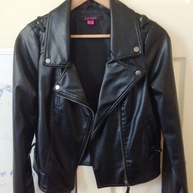 Black Pleather Jacket / coat - Size 12