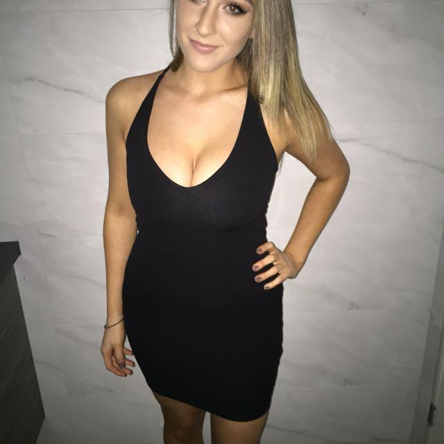 Black Stringy Boohoo Dress