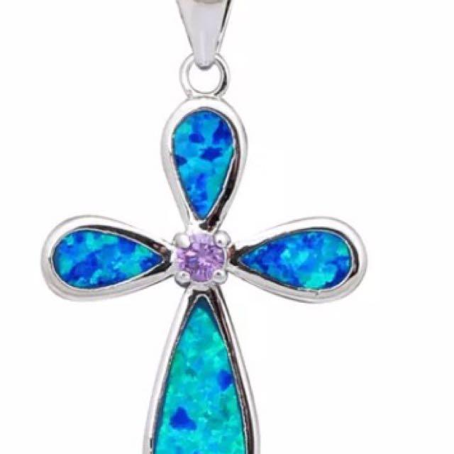 Blue Opal Cross Pendant