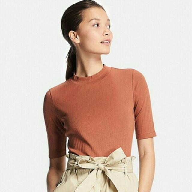 [BN] UNIQLO Women High Neck Mock Turtleneck Ribbed Earth Camel Tan Nude Brown Taupe Quarter Long Half Sleeve Cotton Top Blouse T-shirt