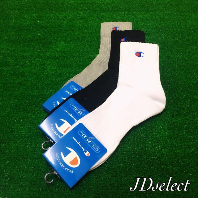 🏆Champion 中筒襪 夏款 後跟加厚 運動襪 休閒襪 黑灰白三色 日本帶回 數量有限