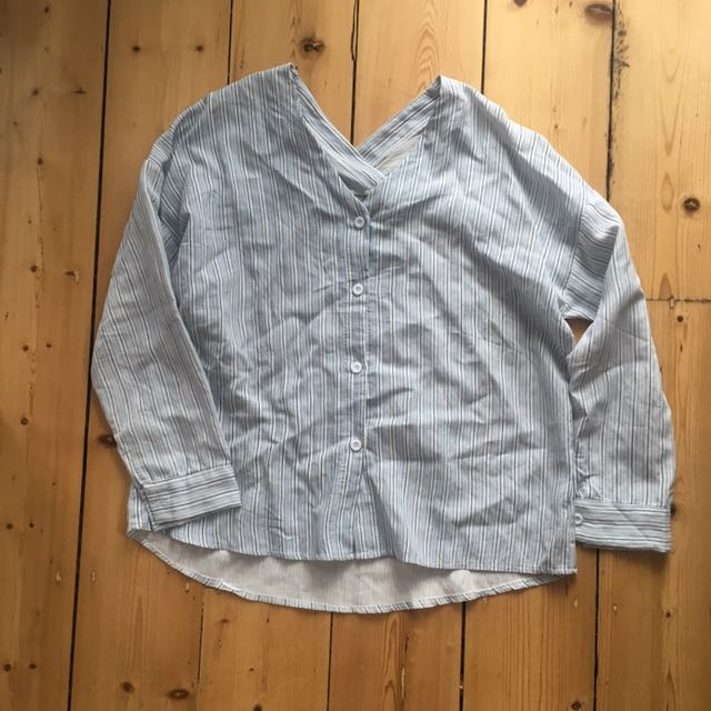 Collarless Striped Shirt - Purchased In Taiwan