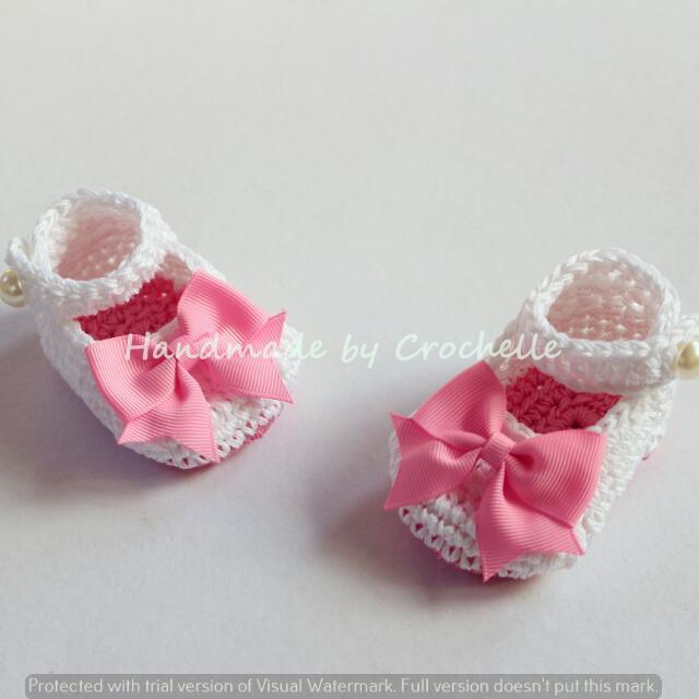 Crochet Pink Ribbon Baby Shoes