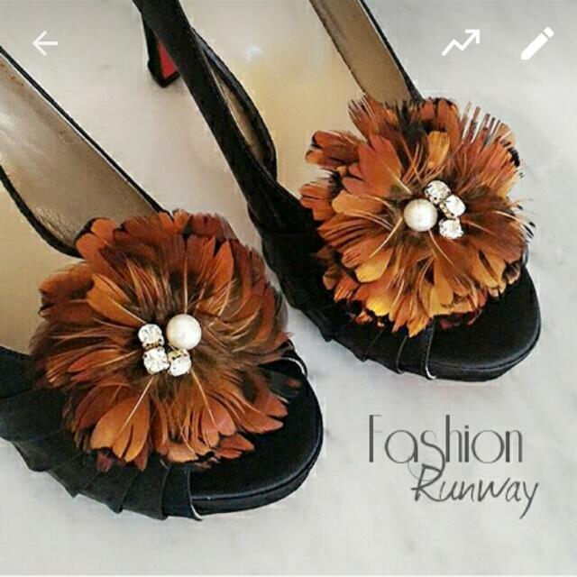 DISKON Brown Fur Shoe Clips