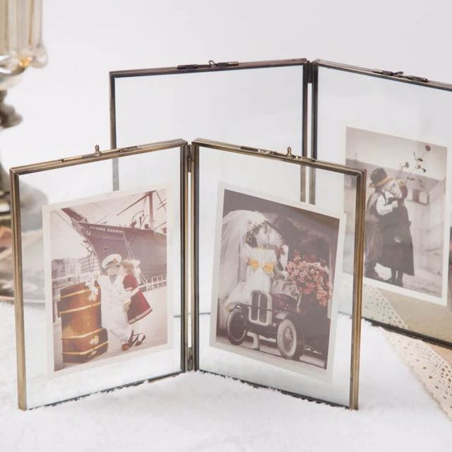 Double Sided Hinged Glass Frame Copper Furniture Home Decor On