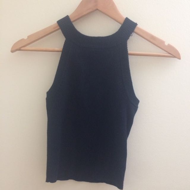 F21 RIBBED BACK HIGH NECK CROP TOP