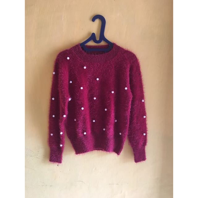Furry Sweater Maroon