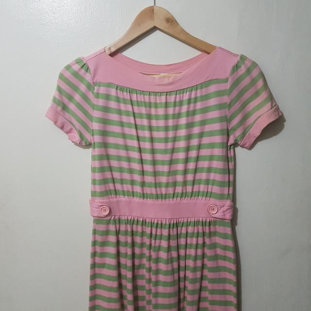 Gap Girl's Green And Pink Stripe Dress
