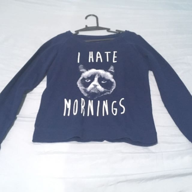 """I Hate Mornings"" Grumpy Cat Sweater"