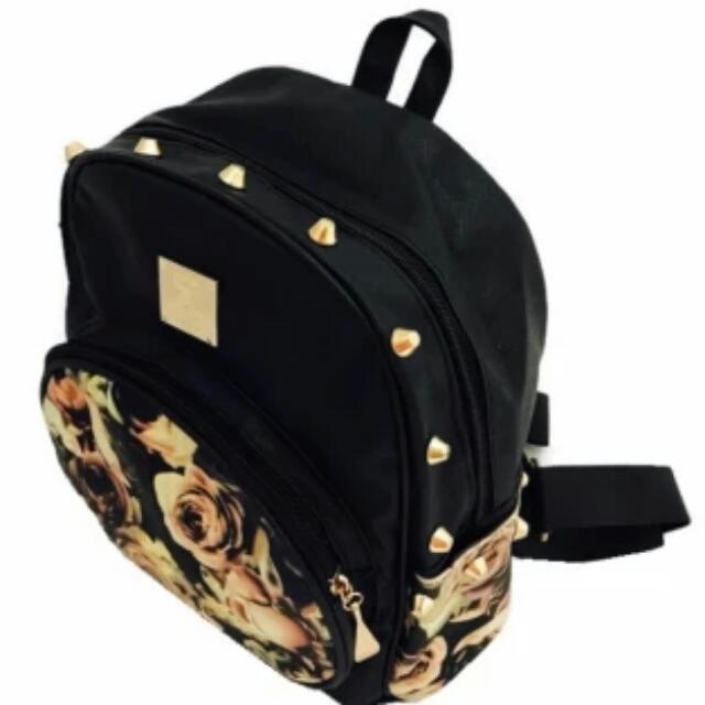 Isabel Korean Fashion Backpack (Black Rose)