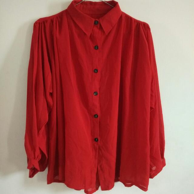 Kemeja Merah Chiffon