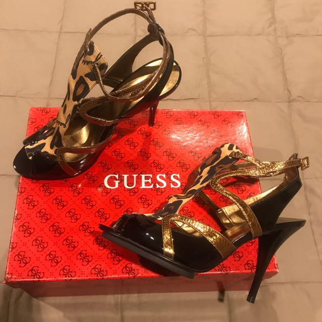 Ladies Guess Black Multi Patent Leopard Print Shoes