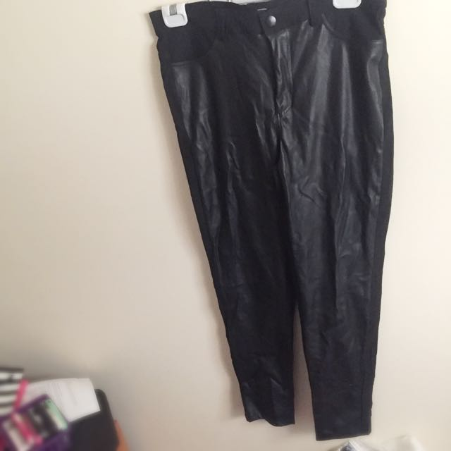 Leather Look Pants Size L