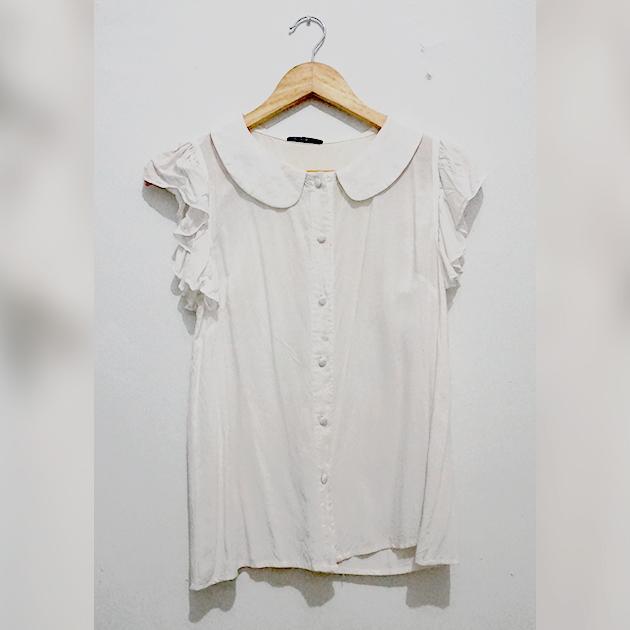 [MADE IN JAPAN] Kemeja Kerja Putih Flowy Ruffle Sleeve