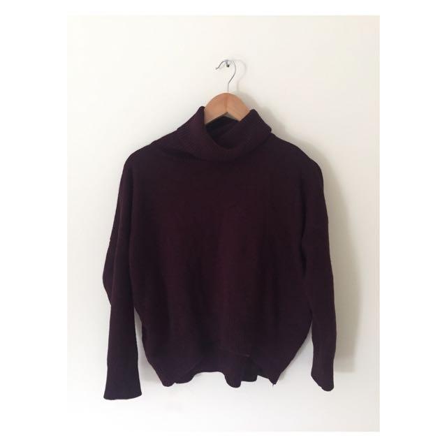 Maroon Turtleneck Sweater   Size 12