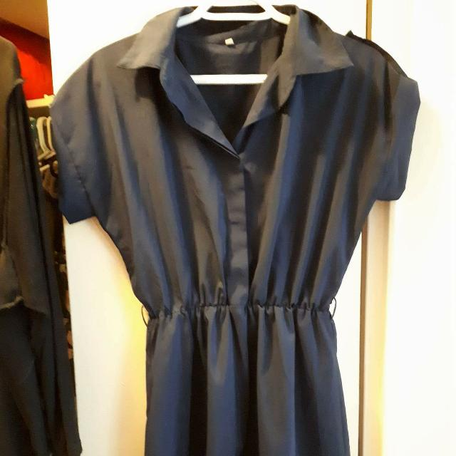 Navy Blue Collared Dress